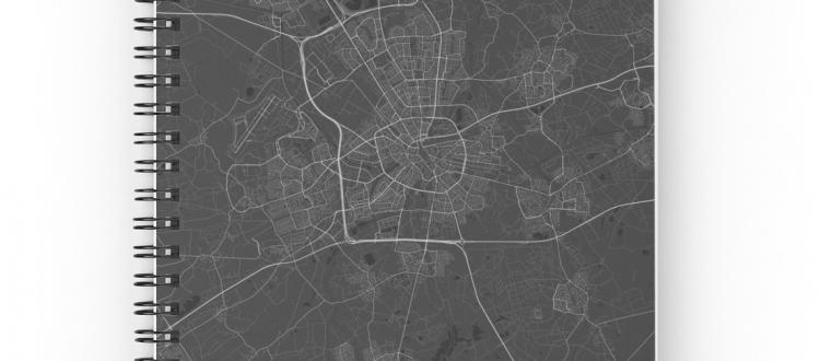Eindhoven Netherlands Dark Map, by DesignerMapArt   ByMaSOLE